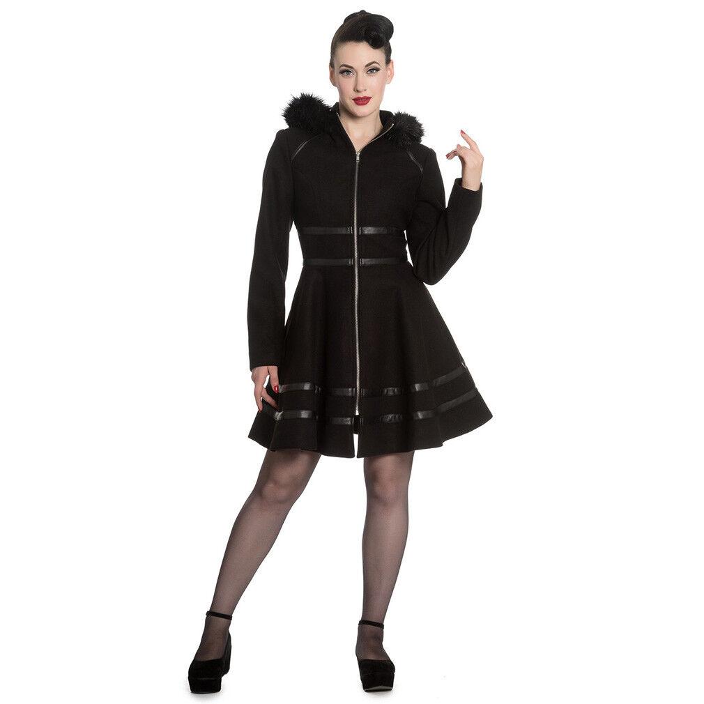 Hell Bunny Retro Vintage Wintermantel Mantel Kunstfell Kunstleder Twilight Coat