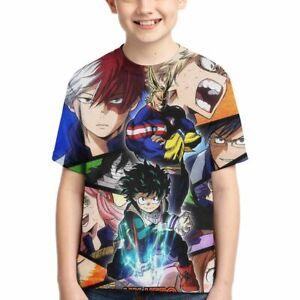 Anime My Hero Academia Theme Kids Casual T-Shirt Short Sleeve Tee For Boy /& Girl