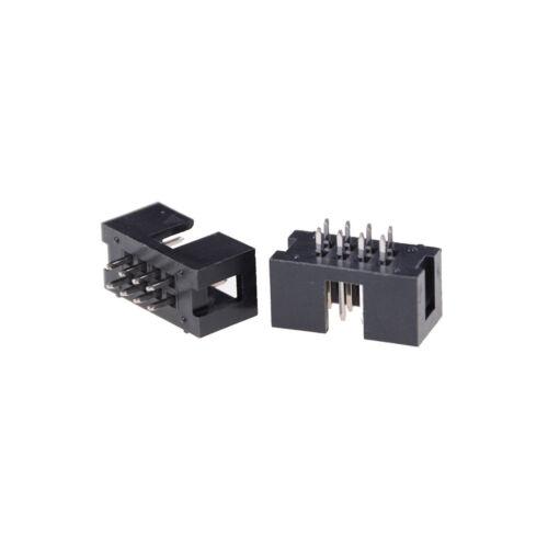 10x DC3-8P 2.54mm 2x4 Pin gerade männliche gehüllte Kopfzeile IDC Sockel ZP