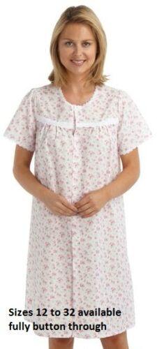 Donna Manica Corta Rosa con bottoni cotone poliestere Camicia da notte da 12-30