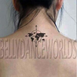 1 set of 4 world map compass design temporary tattoo body art image is loading 1 set of 4 world map compass design gumiabroncs Image collections
