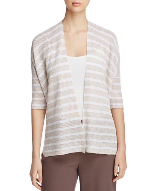 47c8d0d8d NWT $198 Eileen Fisher Oversized Elbow Sleeve Organic Linen Cardigan (2XS)