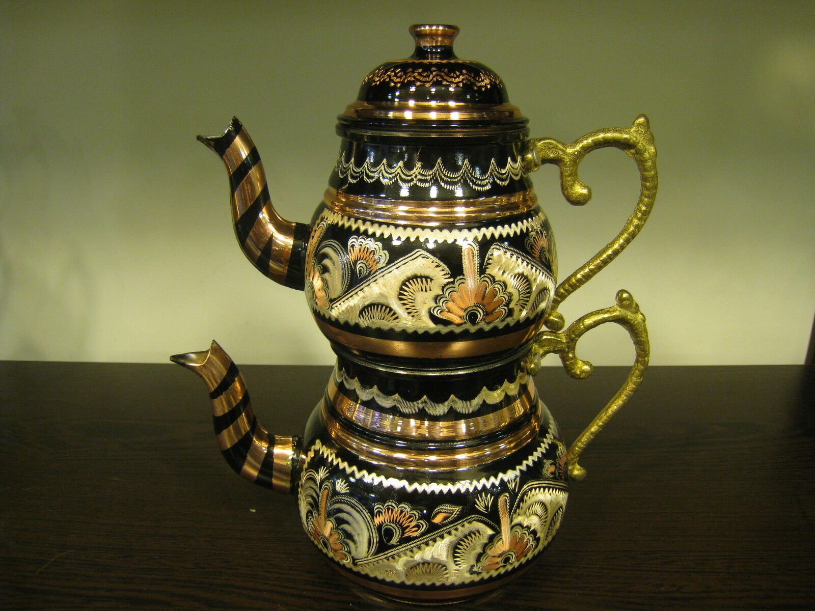 AUTHENTIC TURKISH TRADITIONAL HANDMADE HANDHAMMERED COPPER TEAPOT SET CAYDANLIK