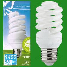 10x 24W CFL a risparmio energetico 4000K Bianco Freddo Spirale Lampadine,ES E27