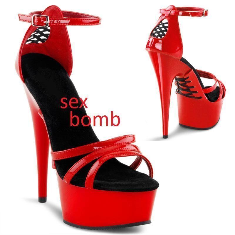 SEXY sandali ROSSI plateau LACCETTI tacco spillo 15 dal 35 al 44 fashion GLAMOUR