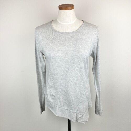 Lisa Todd Asymmetric Hem Long Sleeve Top Gray Sz S