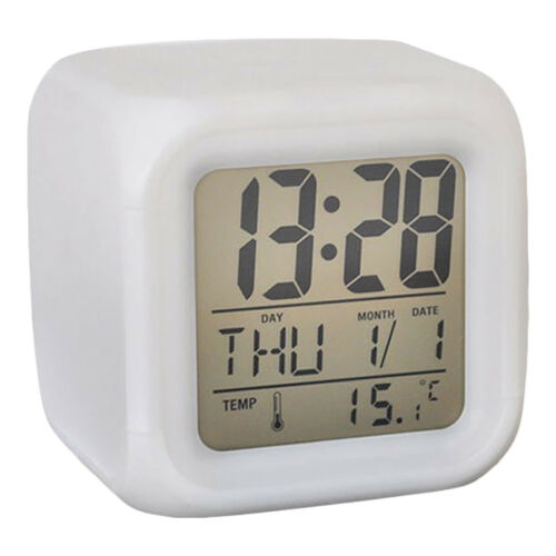 Square Small Digital Alarm Clock Bedroom Desks Travel Portable Snooze Home Dec