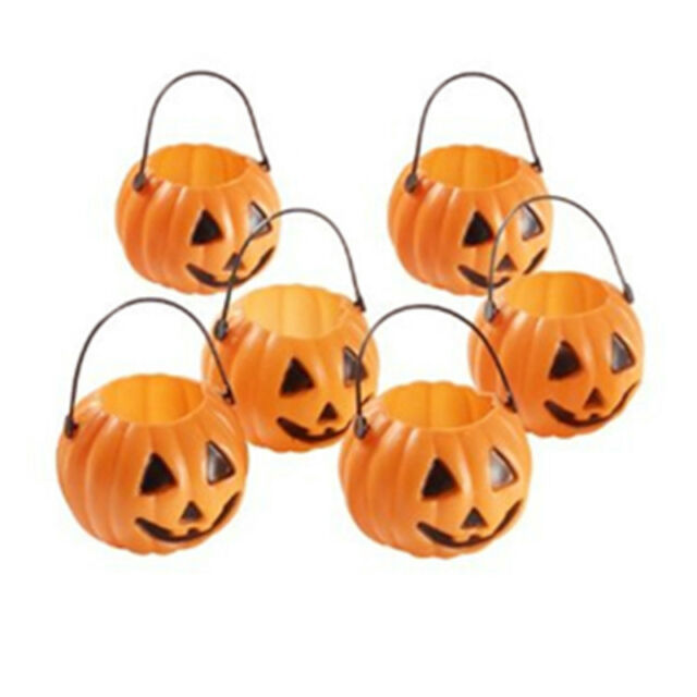 Halloween Party Props Plastic Pumpkin Bucket Trick Cosplay Decor Pouch Holder