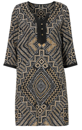 UK Size 12-20 Ladies Black and Gold Aztec Long Tunic Dress