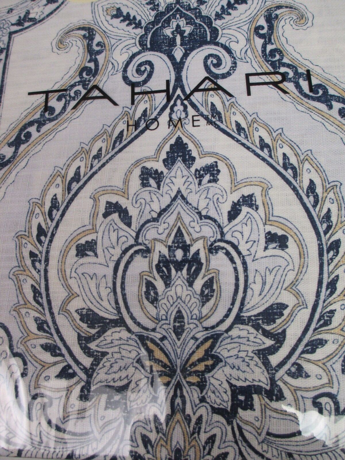 New TAHARI Weiß Navy Blau Tan Damask Medallion Floral Duvet Set - König