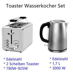 Edelstahl Toaster Wasserkocher Set 1,7 L 3000 W / 2 Scheiben Frühstücks Set