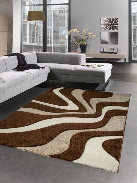 Designer Du Tapis Carpette Du Designer Salon Vagues Beige Brun