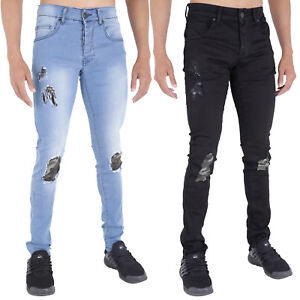 MENS-RIPPED-JEANS-SUPER-SKINNY-STRETCH-RIP-REPAIR-FRAYED-BLACK-LIGHTWASH-BY-AD