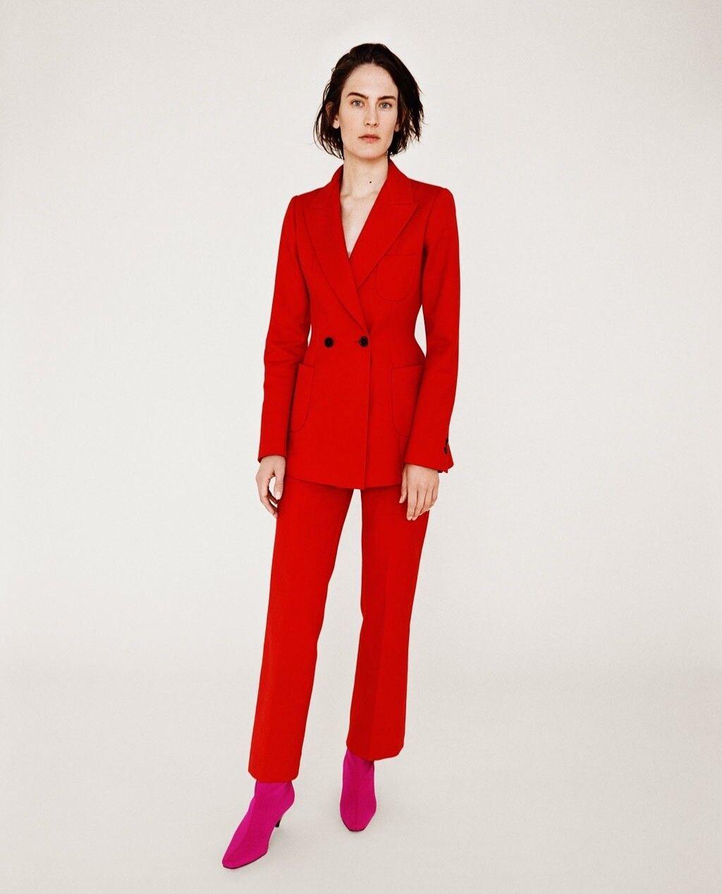 Brand New Red Zara Suit in XS (blazer + pants)