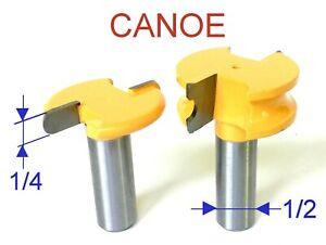 2-pc-1-2-034-Shank-1-4-034-Diameter-Flute-amp-Bead-Canoe-Router-Bit-Set-S