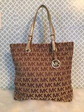 New Michael Kors Jet Set Tote MK Signature Beige/Ebony/Luggage Travel Laptop Bag