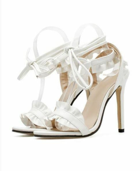 Sandale stiletto eleganti sabot 11 cm bianco simil pelle eleganti CW887