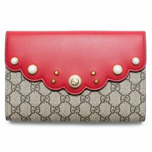 b0744d8c30b2 Gucci GG Supreme Moon Beige Red Hibiscus Brown Pouch Wallet Bag New ...