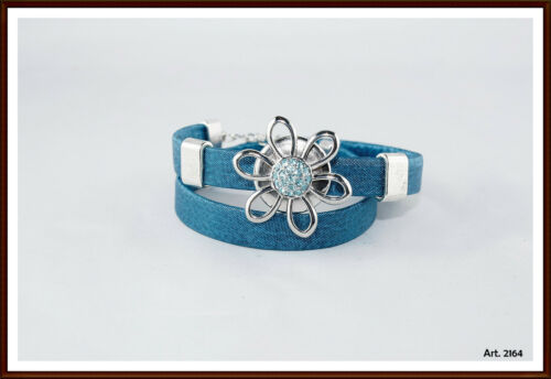 Druckknopf  Click Leder Wickelarmband blau passend für Chunk /& Noosa