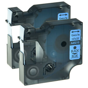 1x Schriftband Kasette für DYMO D1 45016 12mm 7m Schwarz auf Blau LM 100 160 200