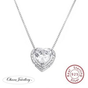 925-Solid-Sterling-Silver-CZ-Cubic-Zirconia-Heart-Pendant-Necklace-Jewellery-Uk