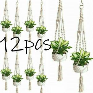 12PCS-Plant-Hanger-Flower-Pot-Plant-Holder-Large-4-Leg-Macrame-Jute-41-034-NEW