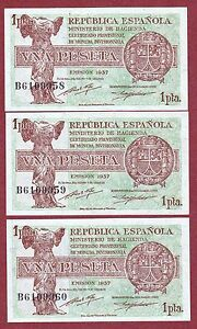 Spain. 1 Peseta De 1937 ( TrÍo Correlativo ) Serie: B ( Sc / Unc ) 9rpoy04l-07232054-349974909