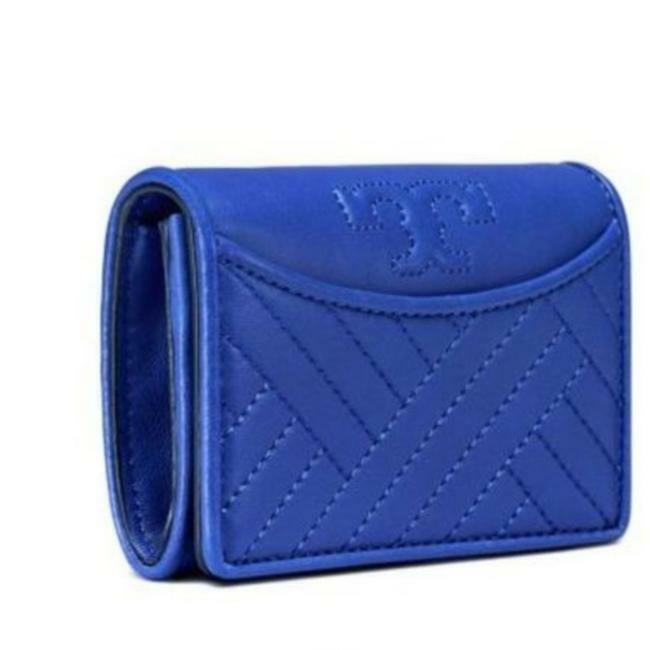 New Tory Burch Alexa Regal Blue Foldable Wallet.