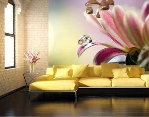 Das Bild Wird Geladen Fototapete Wandtapete Blumen Modern Wand Decke Fuer  Schlafzimmer