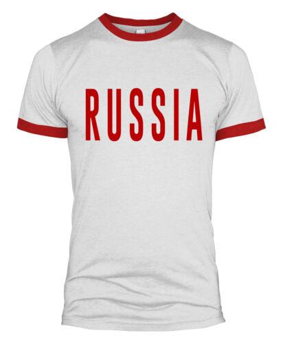 Russia Text T Shirt Slogan Retro Russian World Cup Country 2018 Men Women L254