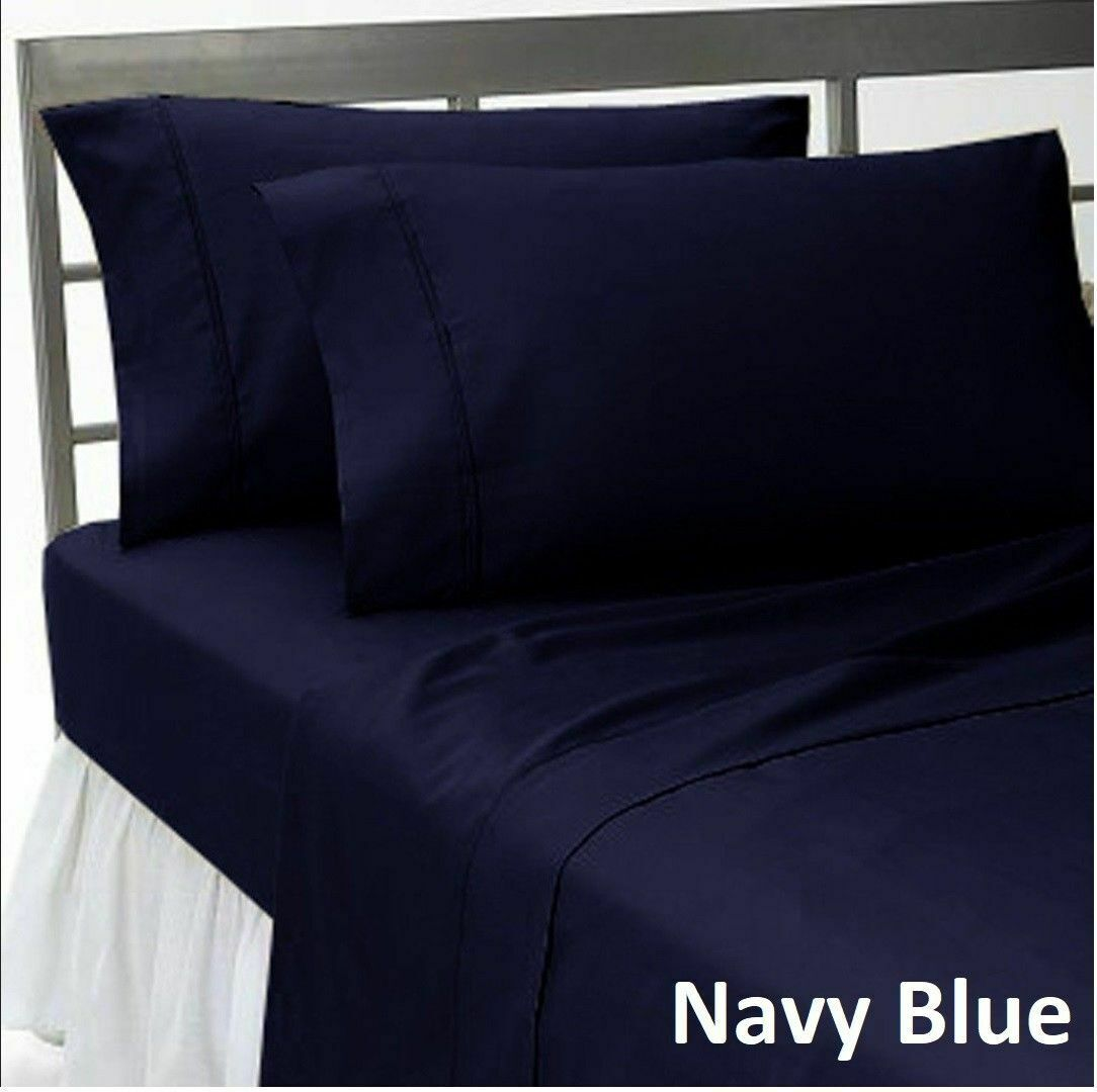 Luxuries 1-Piece Full Size Bed (Top)Flat Sheet bluee Solid 800 TC 100%Cotton