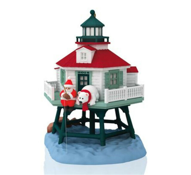 Hallmark 2014 Holiday Lighthouse Magic Cord Series Ornament creased box