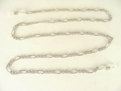 Brillenkette  Figarokette aus Metall silber elastische Schlaufen nickelfrei