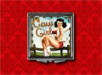 COWGIRL WESTERN COUNTRY PIN UP GIRL VINTAGE MAKEUP POCKET COMPACT MIRROR