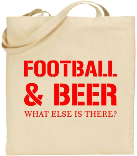 Football And Beer Large Cotton Tote Bag Alcohol Sports Drink Father Xmas Gift