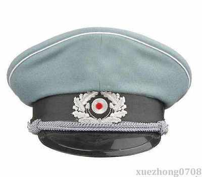WW2 GERMAN WH M36 OFFICER WOOL CRUSHER CAP WITH CHIN CORD SIZE M
