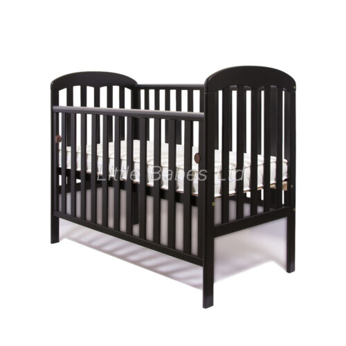 New Mia Drop Side Baby Black Cot British Made Safety Mattress 120x60x10cm //