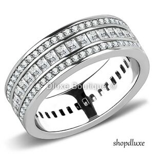 WOMEN-039-S-EMERALD-CUT-AAA-CZ-STAINLESS-STEEL-ETERNITY-FASHION-WEDDING-RING-BAND