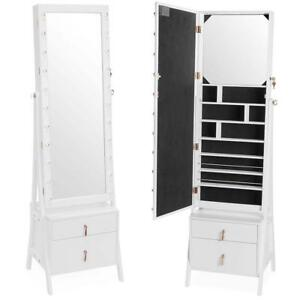 White LED Light Standing Mirror Armoire Jewellery ...