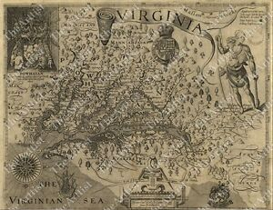 Huge Vintage 1607 Historic John Smith Virginia Map Old Antique Style