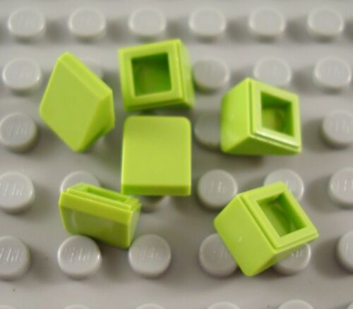 LEGO Lot of 6 Lime Green 1x1x2//3 Mini Slope Pieces