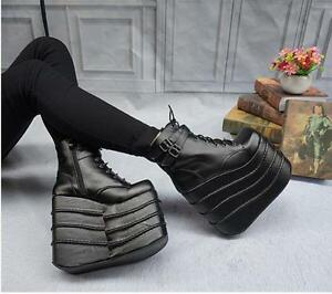 Punk-Womens-Gothic-High-Wedge-Heels-Shoes-Platform-Lace-Up-Ankle-Boots-Plus-size