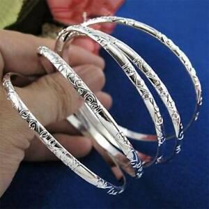 Set-of-5pcs-925-Silver-Carving-Pattern-Women-Smart-Bracelet-Cuff-Bangle-Jewelry
