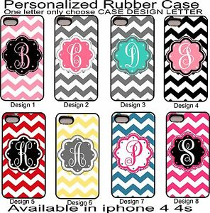 For-iPhone-4-4s-Personalized-Monogram-One-Letter-Pink-Chevron-Rubber-Phone-Case