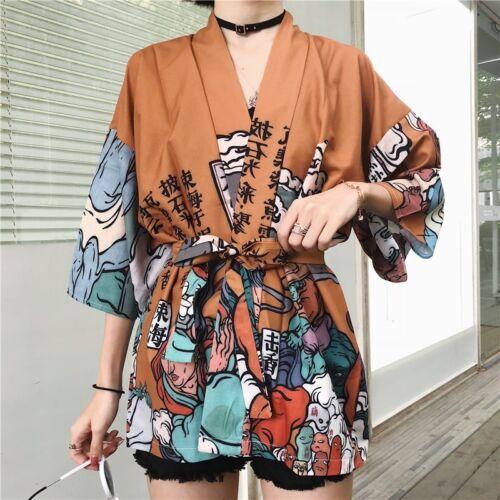 Ladies Japanese Kimono Coat Loose Yukata Outwear Tops Retro Casual Black Fashion