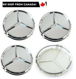 4-PCS-75mm-Mercedes-Benz-Gray-Chrome-Wheel-Hub-Center-Caps