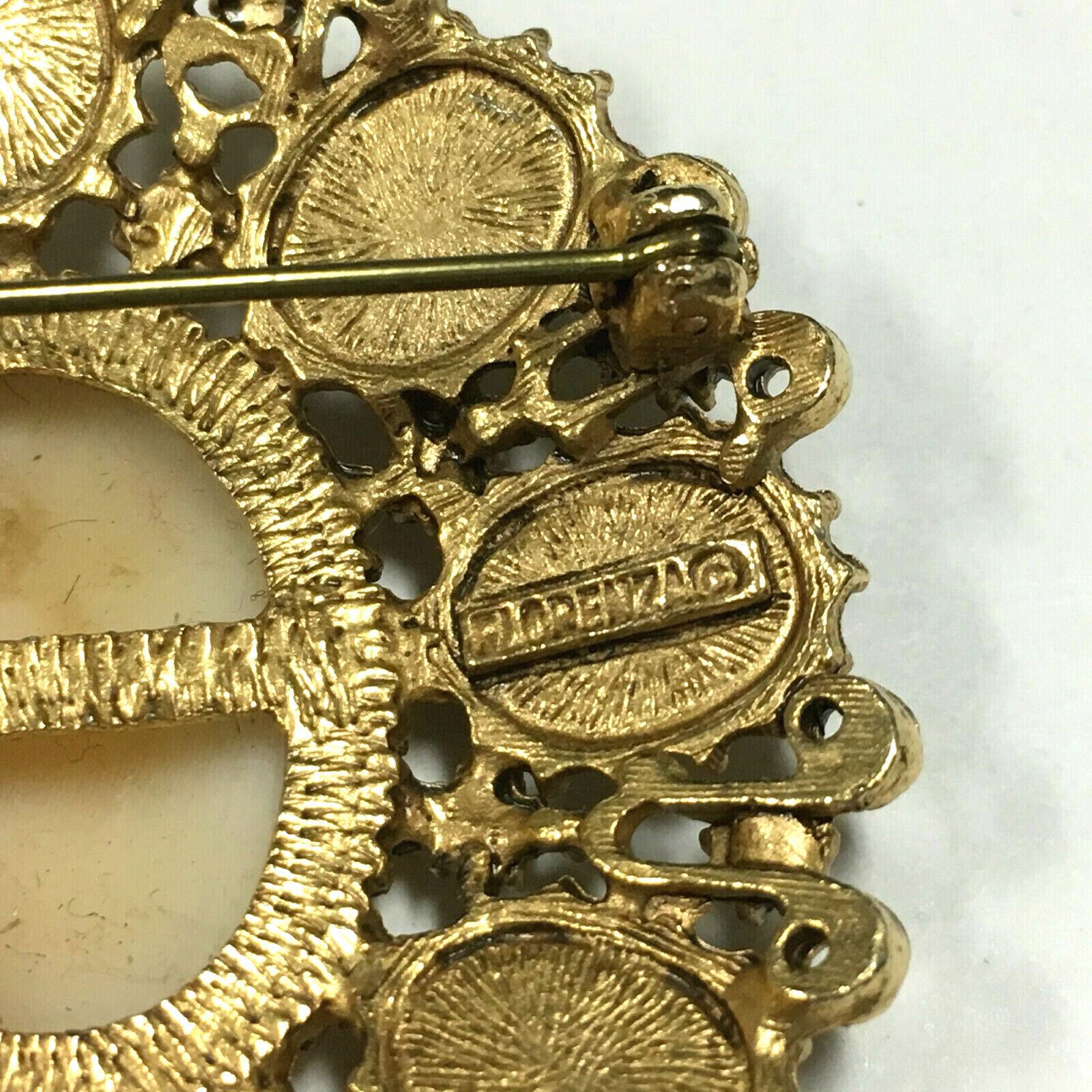 Big Ornate Vintage FLORENZA CAMEO Brooch Pearl & … - image 2