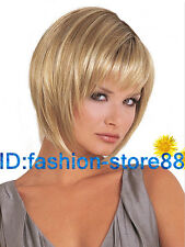 New Ladies Short Blonde Mixed Natural Hair wig Synthetic Wigs + wig cap