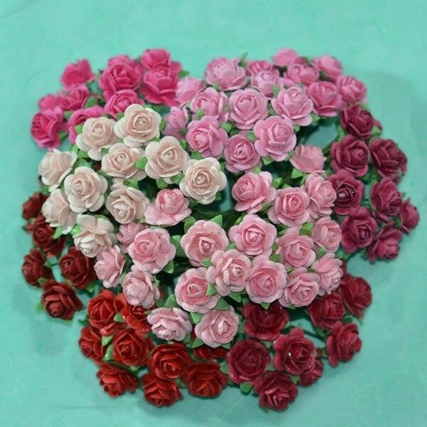 100 Mixed Mini Mulberry Paper Rose Artificial Flower Red Pink Tone Color 10 mm