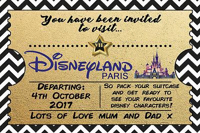 Personalised Disney Ticket Style Disneyland Florida Invites inc Envelopes A6